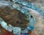 Blue 8mm Kyanite Flat Square Gemstone Beads