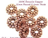 GENUINE PURE REAL Copper NOT PLATED,  Bali STYLE Triple Play 12X6mm 6 Count, 3 Beads into One