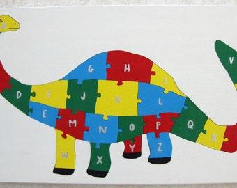 Children's Wood Brontosaurus Alphabet Puzzle