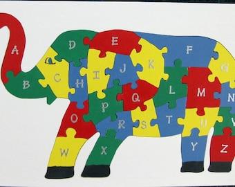 Children's Wood Elephant Alphabet Puzzle