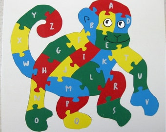 Children's Wood Monkey Alphabet Puzzle