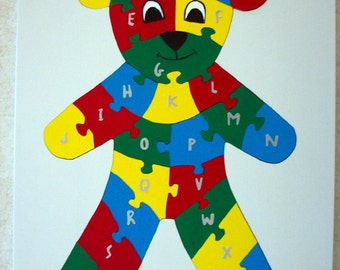 Children's Wood Teddy Bear Alphabet Puzzle