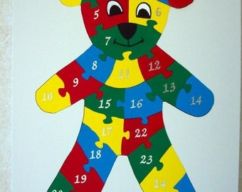 Children's Wood Teddy Bear Number Puzzle