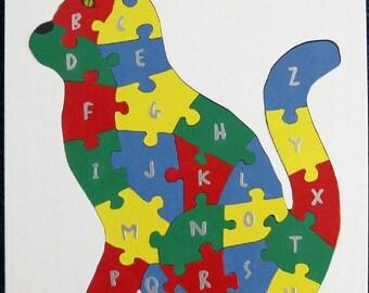 Children's Wood Cat Alphabet Puzzle