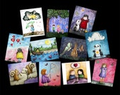 CLEARANCE - This And That Postcard Pack - Featuring 11 paintings by Marcia Furman  - Cute Kawaii Whimsical