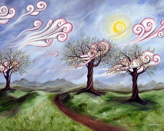 Defiant Beauty - 8x10 Art Print - Whimsical Landscape with Trees and Swirly Clouds - Art by Marcia Furman