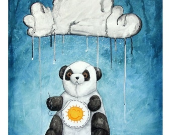 I'll Try Anything 8x10 Art Print - Sad Panda Sewing Sunshine on His Belly - Art by Marcia Furman