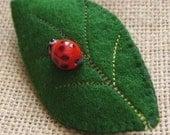 Ladybug on Leaf pin