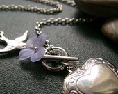 OOPS CLEARANCE . lavender nectar . floral heart locket necklace .