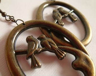 CLEARANCE . lovebird hoops // lovebird earrings . antiqued bird earrings . bird earrings . antiqued bird earrings . bird jewelry