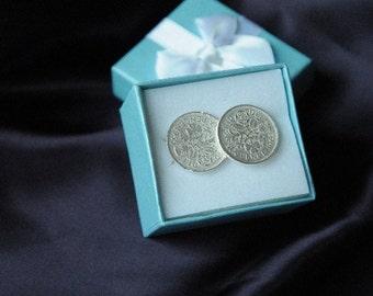 Sterling Silver Six Pence Cufflinks