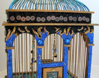 Heart's Escape Beaded Mosaic Art Birdcage