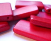 10 RARE RED BAMBOO Tile Beads Dominoes Altered Art