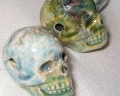 Raku Ceramic Skull Bead