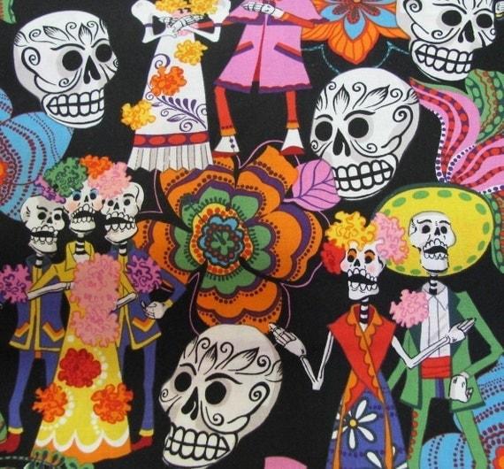 Alexander Henry Mexico Los Novios Day of Dead Posada Lolito Quilt Cotton Fabric Half Yard