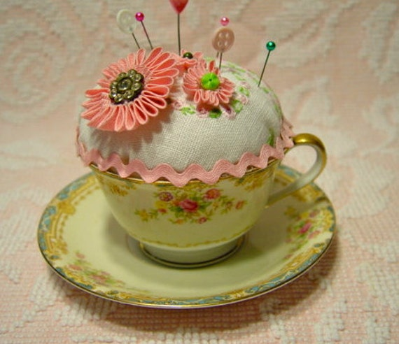 Noritake teacup pincushion with vintage embroidery