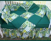 New JOHN DEERE baby Crib Bedding Set with green MADRAS plaid fabric