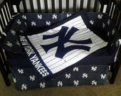 New custom made New York Yankees Pinstripe baby Crib Bedding Set with all NY pinstripe fabric