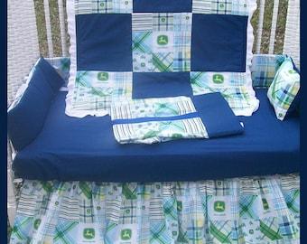 SALE! New 7 Piece JOHN DEERE baby Crib Bedding Set with blue Madras plaid fabric