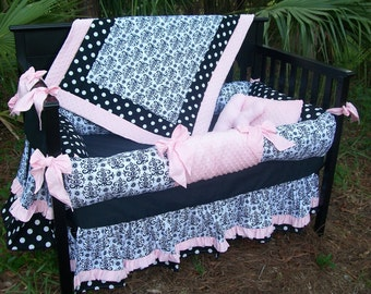 Custom 7 piece custom made Black White Damask and Polka Dot Crib Mini Bedding Set