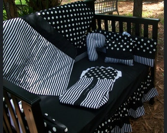 Custom made new Black and White  wth POLKA DOT and STRIPE Crib Bedding Set
