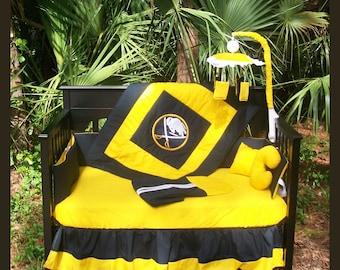 Sale!! 7 Piece New Buffalo SABRES NHL hockey full Crib Bedding Set