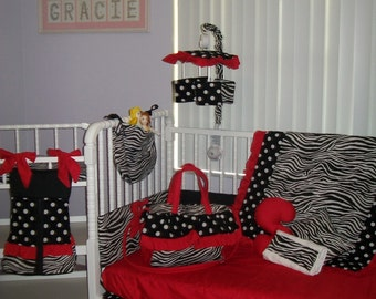 New baby Crib Bedding Set in ZEBRA POLKA DOT solid red fabrics plus Diaper Bag, Mobile, Toy Bag, Valance and Burp Cloths