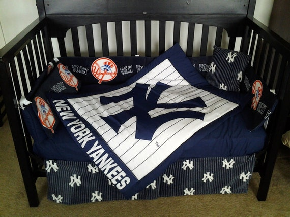 SPECIAL ORDER for KAREN New bumperless Custom New York Yankees full crib bedding set