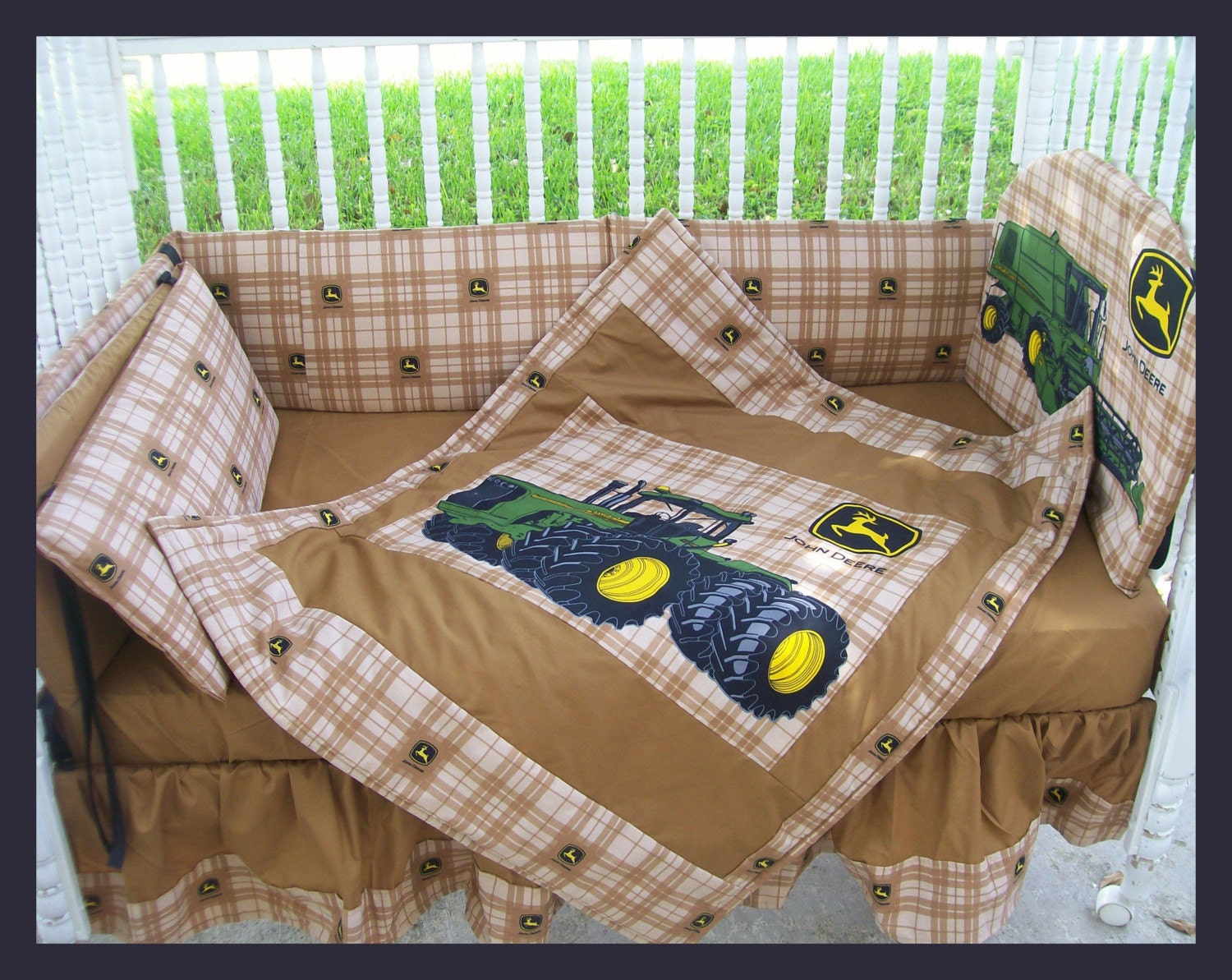 New JOHN DEERE baby crib bedding set made w/ new brown plaid