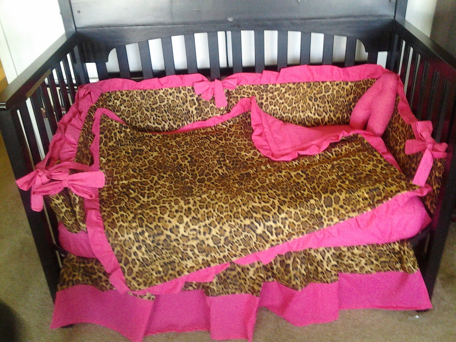 new hot pink and brown cheetah baby crib bedding set