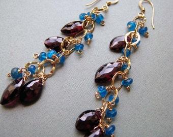 Marakkesh - garnet, apatite and goldfilled earrings