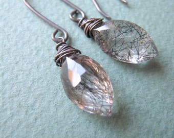SIMPLICITY Shadow - tourmalinated quartz and oxidized sterling silver earrings