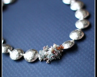 COUTURE Camenae - Shiana Hill Tribe fine silver, blue and brown zircon, freshwater pearls and sterling silver necklace