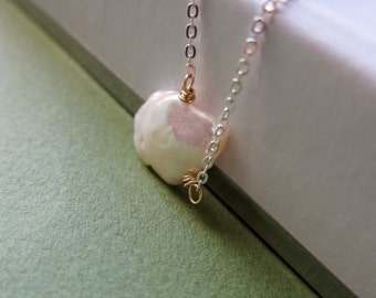 SIMPLICITY Flake - XL keishi pearl, goldfilled and sterling silver necklace
