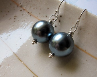 SIMPLICITY Ionia - 12mm shell pearl and sterling silver earrings