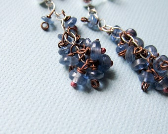 Irises - kyanite, sterling silver and rosy copper earrings
