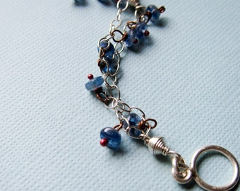 Irises - kyanite, sterling silver and rosy copper bracelet