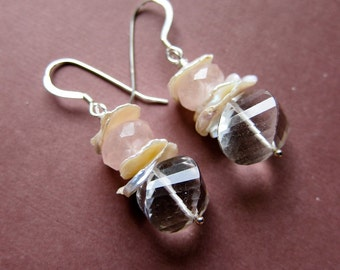 Clotilde - quartz, rose quartz, heishe flake pearls and sterling silver earrings