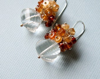 Julie - quartz, hessonite garnet and sterling silver earrings