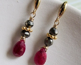 Lilliput - ruby, golden pyrite, goldfilled and vermeil earrings