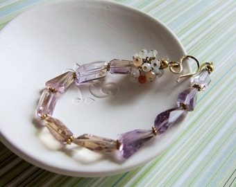 Morning Glory - ametrine, moonstone and goldfilled bracelets