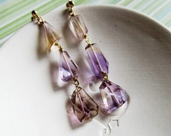 Morning Glory earrings - ametrine & 14k goldfilled *LAST PAIR*