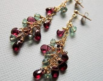 Eva - green mystic quartz, rhodolite garnet and goldfilled earrings