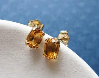 Carrie earrings - citrine & goldfilled