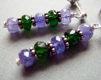 Grove - tanzanite, chrome diopside and sterling silver earrings