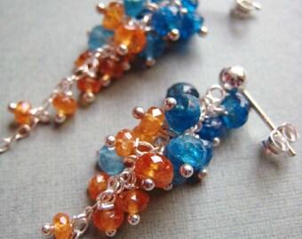 Mardi Gras - peacock blue apatite, mandarin garnet and sterling silver earrings