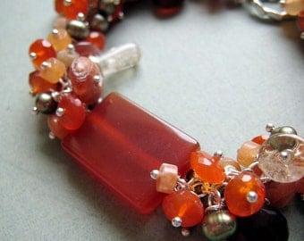 Harvest bracelet - carnelian, sunstone, citrine & sterling silver