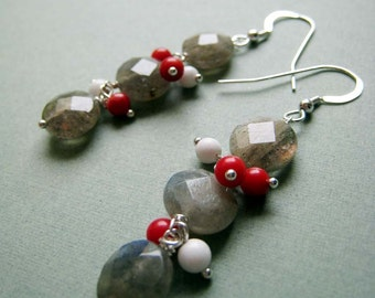 Storm Clouds earrings - labradorite, coral & sterling silver