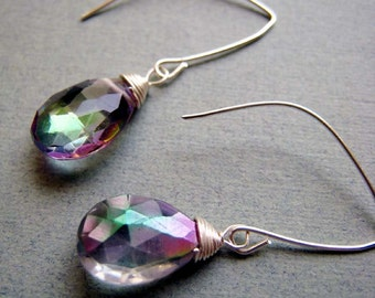 SIMPLICITY Topaz - mystic topaz and sterling silver earrings