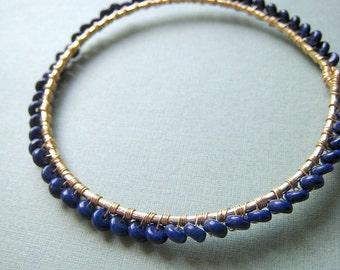 Marinus bangle bracelet - lapis lazuli & 14k goldfilled